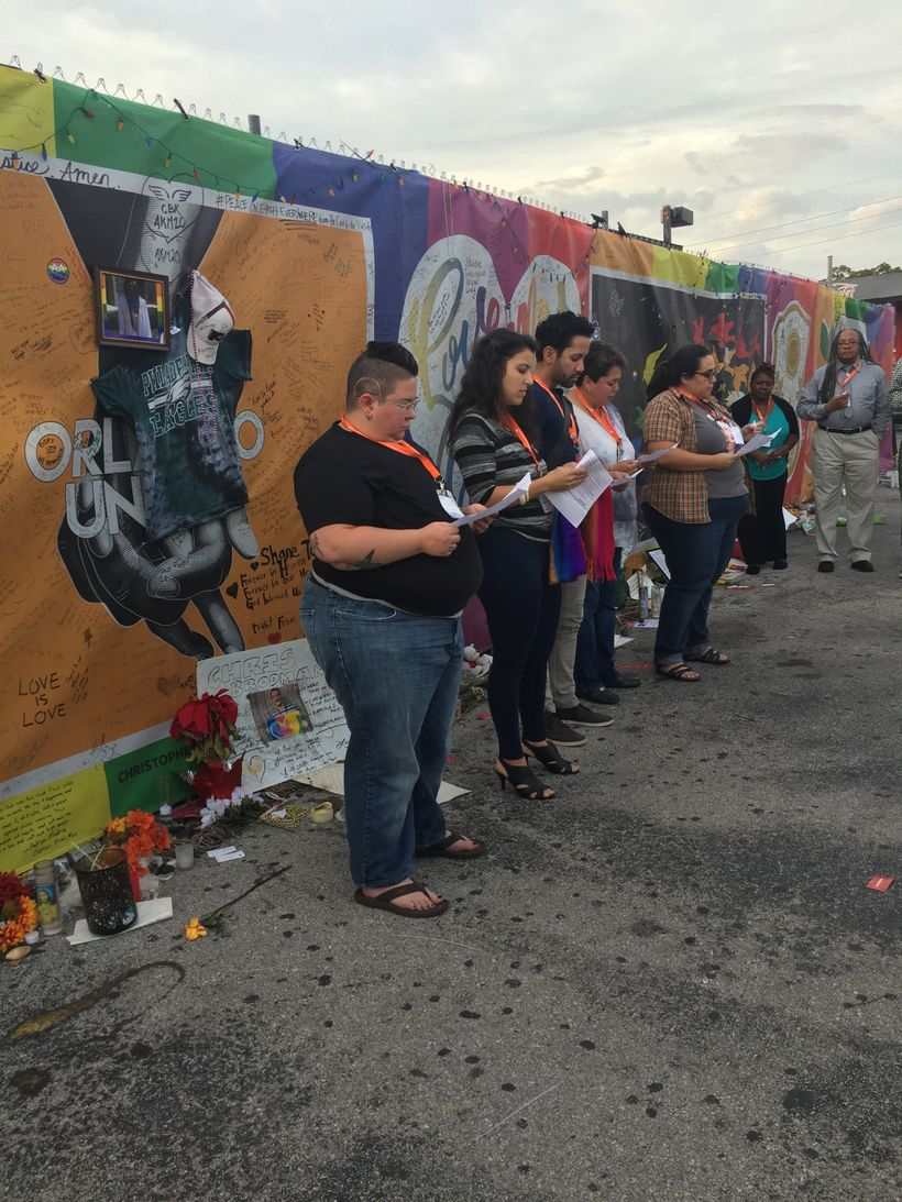 We say their names, because they are ours!  Members of the NRLR read the 49 names who were killed at the Pulse shooting.