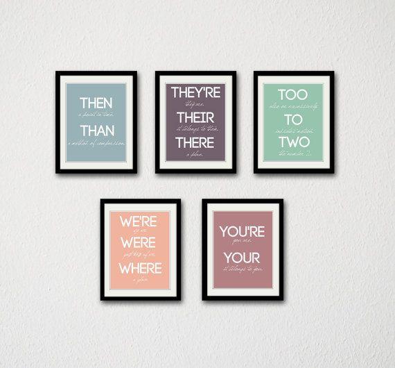 """Grammar posters, $50, <a href=""""https://www.etsy.com/listing/175957859/grammar-print-set-set-of-5-prints?ga_order=most_relevan"""