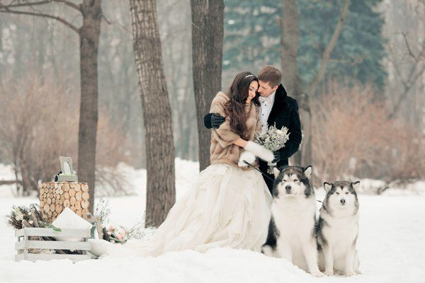 "What's a winter wedding photo without a pair of <a href=""http://bridalguide.com/planning/the-details/theme/pets-in-weddings#1"