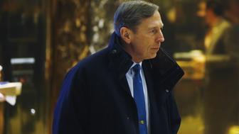Former CIA director David Petraeus arrives to meet with U.S. President elect Donald Trump at Trump Tower New York, U.S., November 28, 2016.  REUTERS/Lucas Jackson