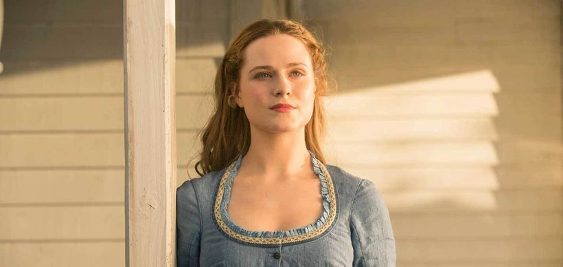 Evan Rachel Wood as Dolores Abernathy in Westworld.