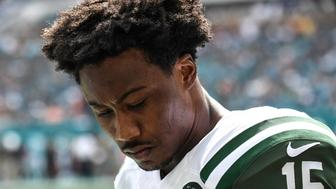 MIAMI GARDENS, FL - NOVEMBER 06:  Brandon Marshall #15 of the New York Jets looks on during a NFL game against the Miami Dolphins at Hard Rock Stadium on November 6, 2016 in Miami Gardens, Florida.  (Photo by Ron Elkman/Sports Imagery/Getty Images)