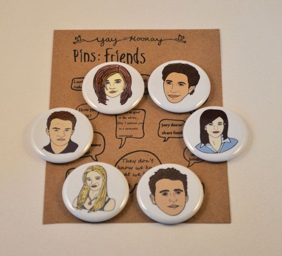 "Cast pins, $8, <a href=""https://www.etsy.com/listing/267129838/friends-cast-pin-button-badges-magnets?ga_order=most_relevant&"