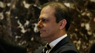 Preet Bharara, the U.S. Attorney for the Southern District of New York stands by the elevators upon his arrival at Trump Tower to meet with U.S. President-elect Donald Trump in New York, U.S., November 30, 2016.   REUTERS/Mike Segar
