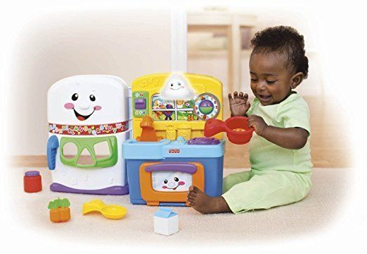 "$39.99, Amazon. <a href=""https://www.amazon.com/Fisher-Price-Laugh-Learn-Learning-Kitchen/dp/B00CQHYZ8I/ref=sr_1_1?amp=&ie=UT"