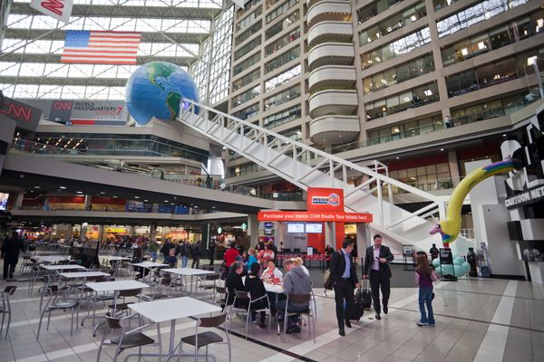 You can take a studio tour of CNN's world headquarters, where you'll have the chance to ride on the world's longest freestand