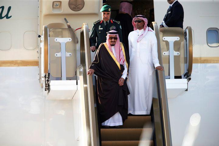Saudi King Salman bin Abdulaziz Al-Saud arrives at Sakhir VIP airport to attend the Gulf Cooperation Council's (GCC) 37th Sum