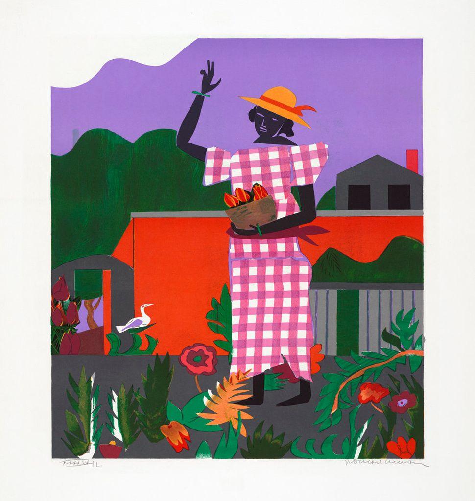 """Romare Howard Bearden, """"American Portfolio: Girl in the Garden, edition XXXXIV/L,"""" silkscreen, 1980."""