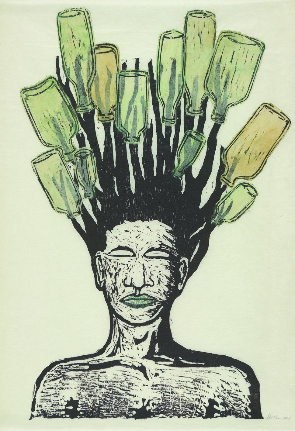 "Alison Saar, ""Delta Doo,"" monoprint/woodcut and chine colle, 2002."