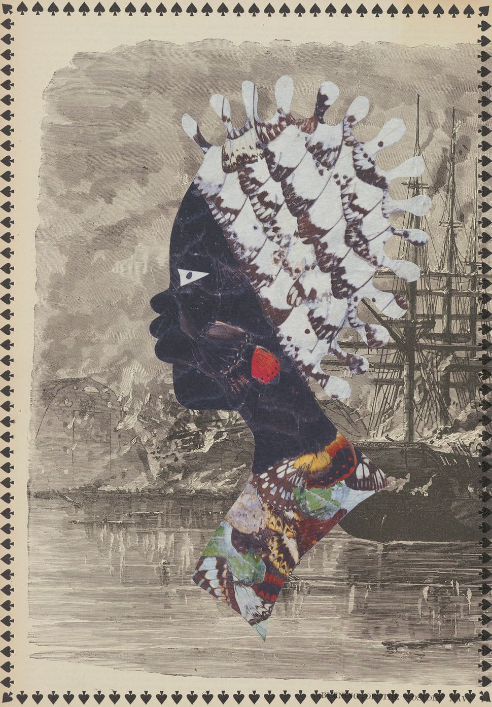 "Mildred Howard, ""I've Been a Witness to this Game IX,"" color monoprint/digital on found paper with collage,"