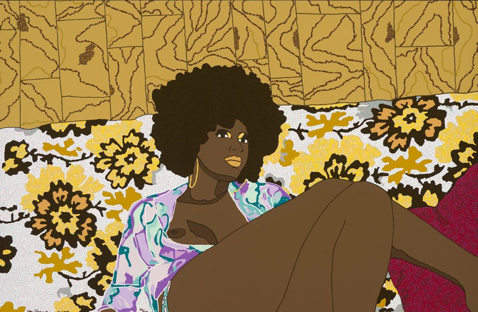"Mickalene Thomas, ""Why Can't We Just Sit Down And Talk It Over,"" edition 39/40, screenprint, 2006."