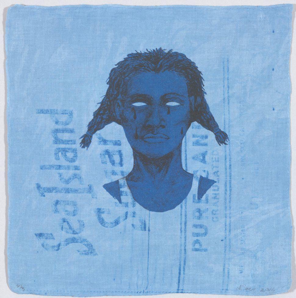 """Alison Saar, """"Indigo Blue (Sea Island Pure),"""" edition 2/3, intaglio, 2016."""