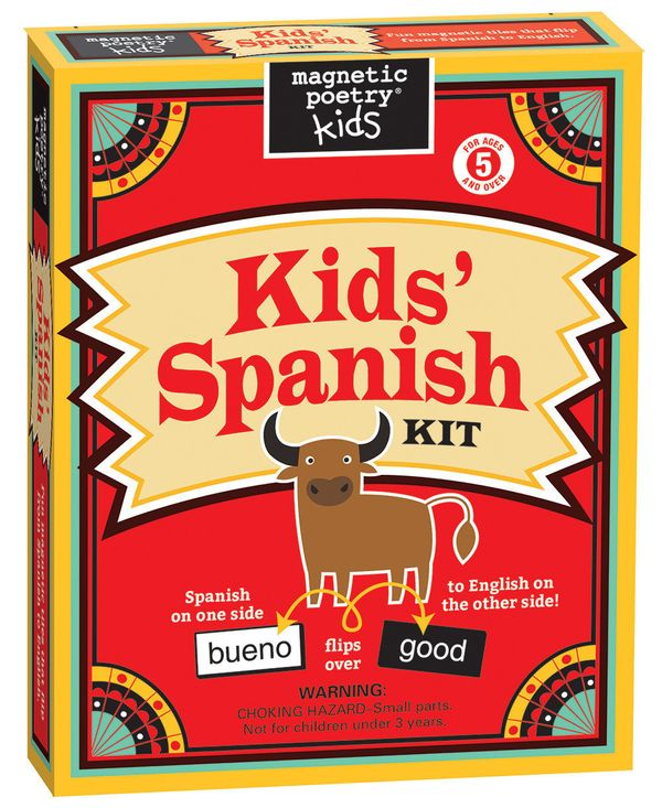 "$18.95, Magnetic Poetry. <a href=""https://www.amazon.com/Magnetic-Poetry-Kids-Spanish-Kit/dp/1890560871/ref=sr_1_3?amp=&ie=UT"