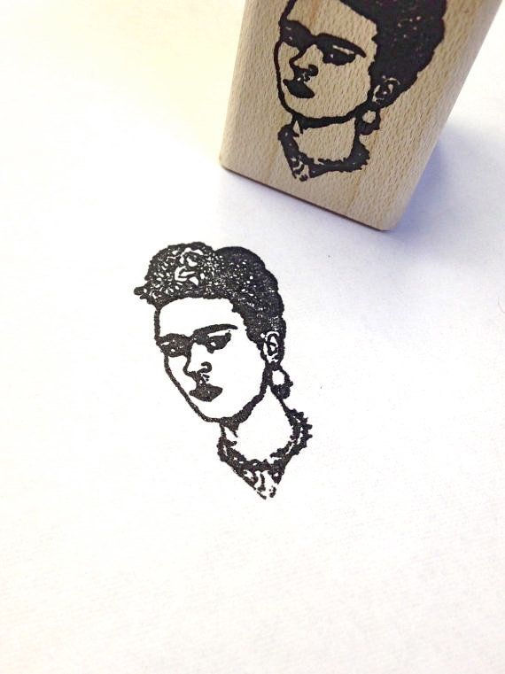 "$6, 100 Proof Press. <a href=""https://www.etsy.com/listing/130329525/frida-kahlo-wood-mounted-rubber-stamp?ga_order=most_rele"