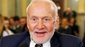 "Former astronaut Buzz Aldrin testifies at a Senate Subcommittee on Space, Science, and Competitiveness, entitled ""U.S. Human Exploration Goals and Commercial Space Competitiveness,""? on Capitol Hill in Washington, February 24, 2015.  REUTERS/Kevin Lamarque  (UNITED STATES - Tags: POLITICS SCIENCE TECHNOLOGY HEADSHOT)"