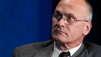 "Andrew Puzder, CEO of CKE Restaurants, takes part in a panel discussion titled ""Understanding the Post-Recession Consumer"" at the Milken Institute Global Conference in Beverly Hills, California  April 30, 2012.  REUTERS/Fred Prouser  (UNITED STATES - Tags: BUSINESS FOOD)"