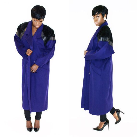 "$155, Volere Vintage. <a href=""https://www.etsy.com/listing/254401379/vintage-coat-long-80s-unisex-blue-purple?ref=shop_home_"