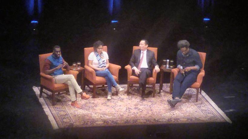 "Deray McKesson, Favianna Rodriguez, Jeff Adachi, and W. Kamau Bell discuss ""Equal Justice Post Obama,"" December 5, 2016, San"