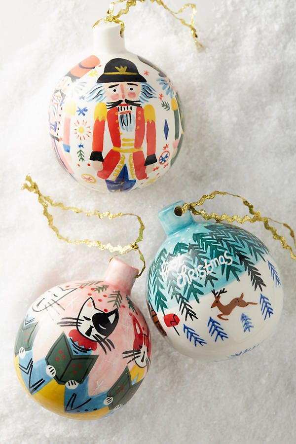 Anthropologie Painted Yuletide Ornament