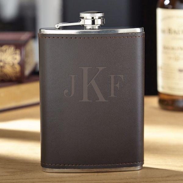 """Monogrammed leather flask, $29.95, <a href=""""http://www.zazzle.com/classic_monogram_fitzgerald_personalized_flask-256146568099"""