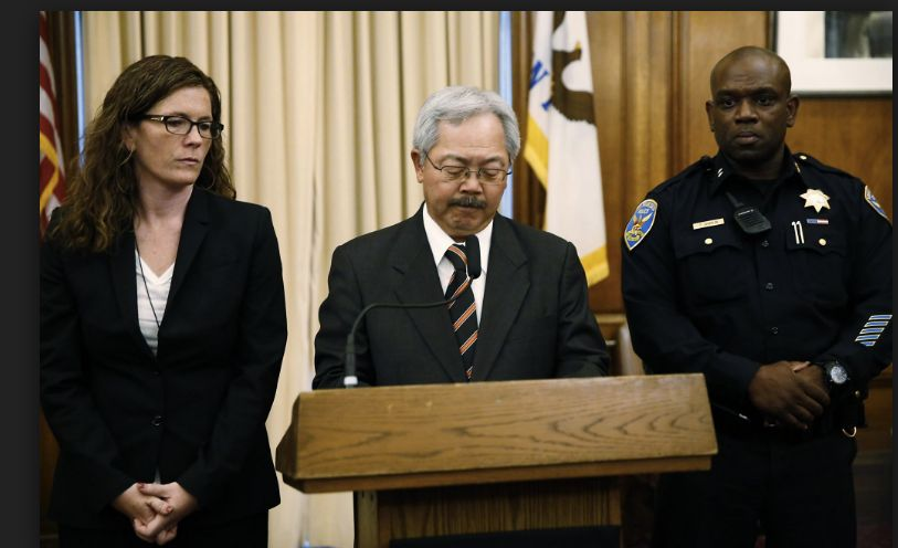 SF Police Commission President Suzy Loftus and Mayor Ed Lee announce Toney Chaplin's appointment as Interim Chief of SFPD May