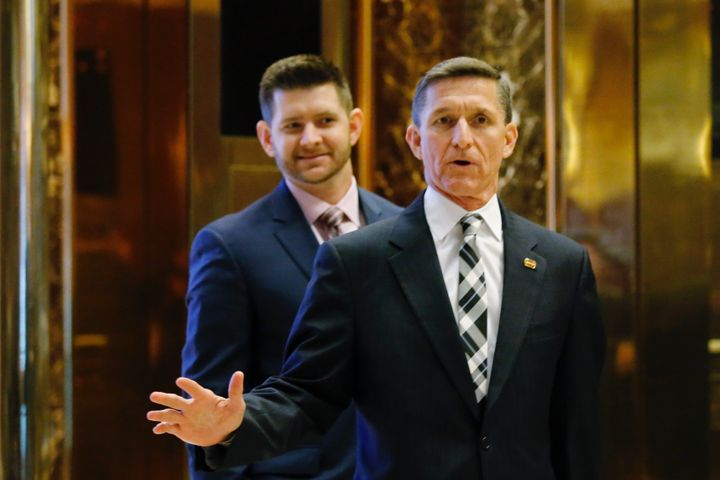 Michael Flynn Jr. (left), with his father, Gen. Michael Flynn, arriving for meetings at Trump Tower.