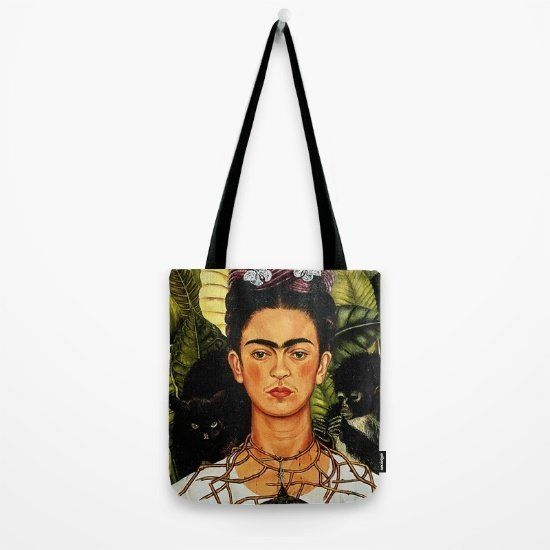 "$16.20, Society6. <a href=""https://society6.com/product/frida-kahlo-0n1_bag#s6-4707902p29a26v196"" target=""_blank"">Buy it here"