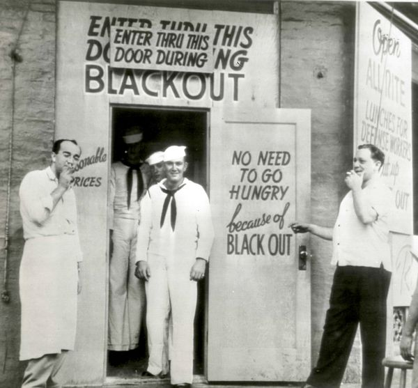 A blacked-out restaurant in downtown Honolulu, 1942.