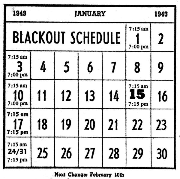 A printed schedule for Hawaii's very strict nightly blackout, which began Dec. 7, 1941, and was gradually eased until i