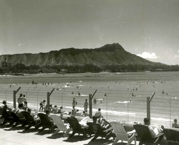 Barbed wire along the front of the Royal Hawaiian Hotel in Waikiki, taken over by the U.S. Navy and used throughout the war o