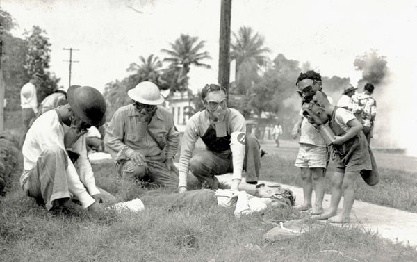 Gas masks were issued to all Hawaii civilians over the age of 7, and practices like this one were held to prepare for poison