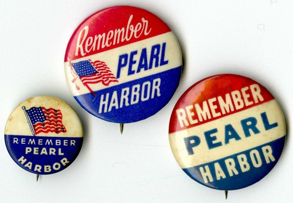 <u></u>Pins like these showed a commitment to winning the war, but they also provided manufacturers some quick income.