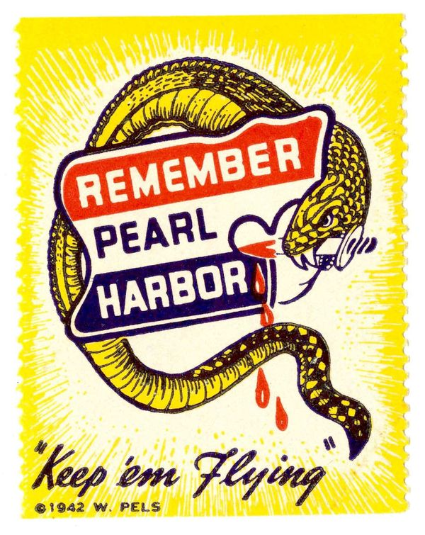 <u></u>The patriotic slogan &ldquo;Remember Pearl Harbor&rdquo; was widely printed in the early war years. This sticker uses
