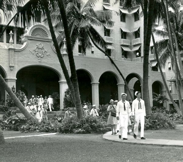 During World War II, Waikiki's luxury Royal Hawaiian Hotel was seized by the Navy and was open only to military personn