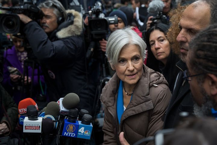Green Party presidential candidate Jill Stein speaks at a news conference on Fifth Avenue across the street from Trump Tower