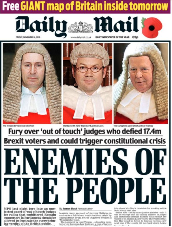 This Daily mail's front page was widely