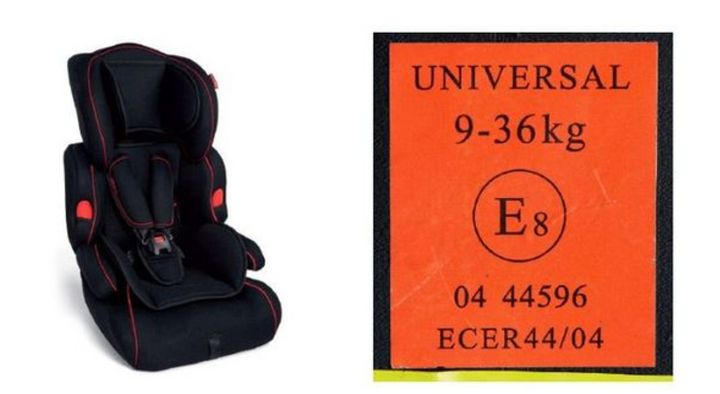 Left: One of the affected car seats. Right: The code for parents to look out for.