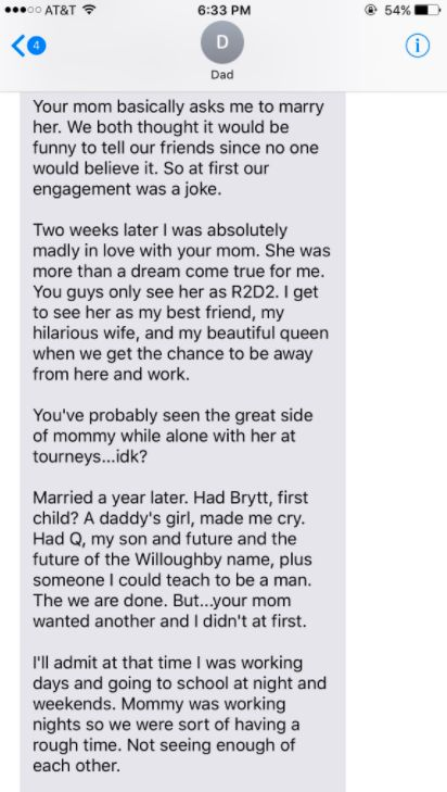 Dad Text Daughter Story Of How He Fell In Love With Her Mother And It's Too Much To