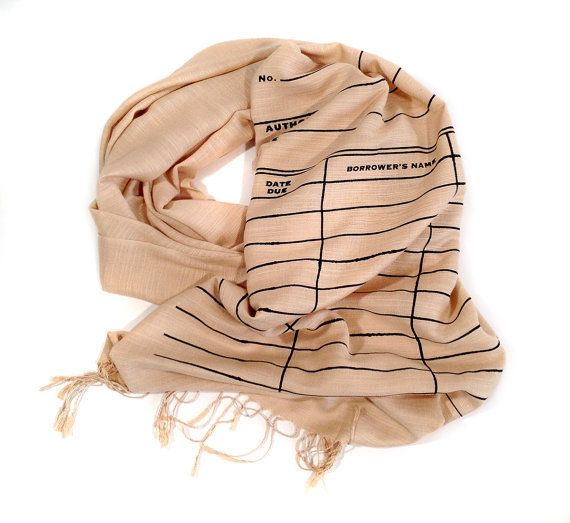 "$44.00. <a href=""https://www.etsy.com/listing/210093431/library-date-due-scarf-book-scarf-linen?ga_order=most_relevant&amp;ga"
