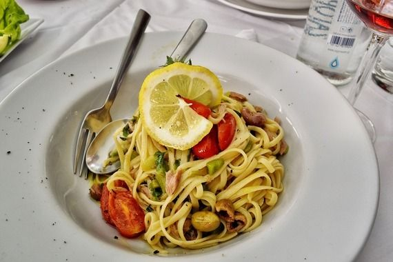 <em>Vegetarian linguine in Italy. </em>