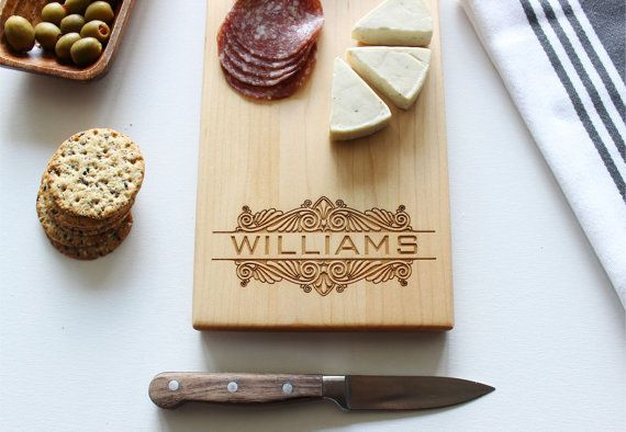 "Customized cheese board, $28.95, <a href=""https://www.etsy.com/listing/486565811/cheese-board-personalized-cutting-board?ref="