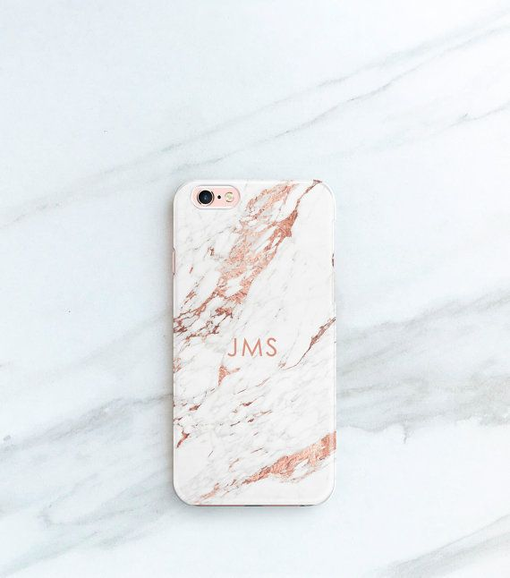 "Rose marble phone case with initials, $25, <a href=""https://www.etsy.com/listing/480538984/rose-marble-phone-case-personalize"