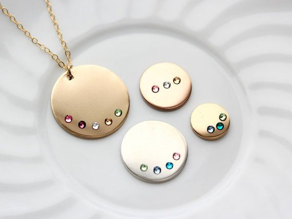 "Personalized birthstone necklace, $26, <a href=""https://www.etsy.com/listing/455836652/disc-necklace-with-birthstones?ref=fin"