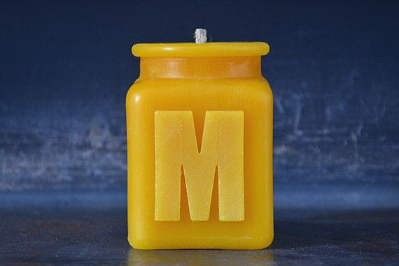"Personalized beeswax candle, $18, <a href=""https://www.etsy.com/listing/183596953/handmade-personalized-letter-m-monogram?ref"