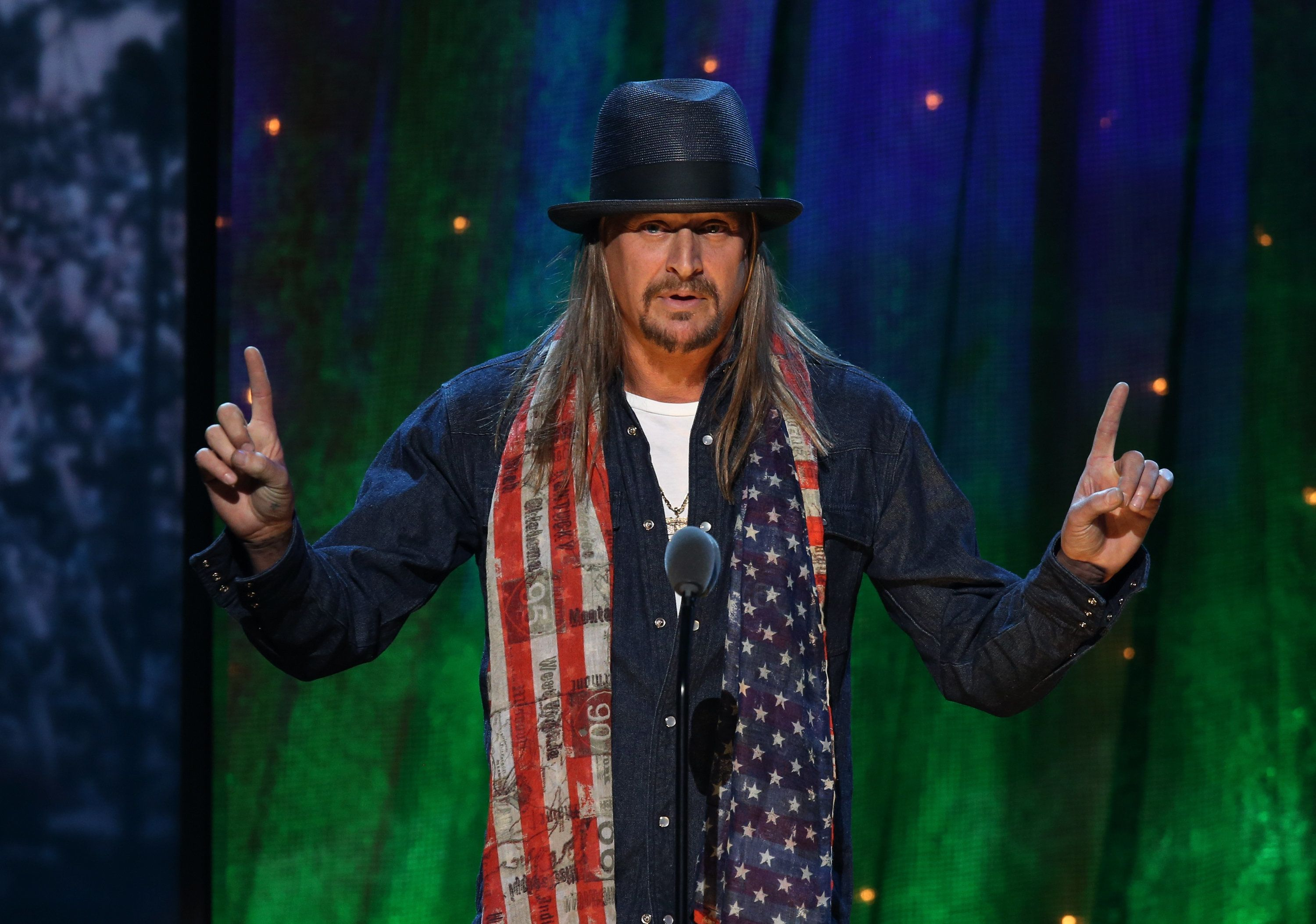 NEW YORK, NEW YORK - APRIL 08:  Kid Rock speaks onstage at the 31st Annual Rock And Roll Hall Of Fame Induction Ceremony at Barclays Center of Brooklyn on April 8, 2016 in New York City.  (Photo by Kevin Kane/WireImage for Rock and Roll Hall of Fame)