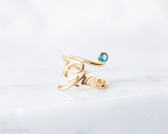 "Birthstone name ring, $27, <a href=""https://www.etsy.com/listing/474244591/sale-20-birthstone-name-ring-custom-name?ref=finds"
