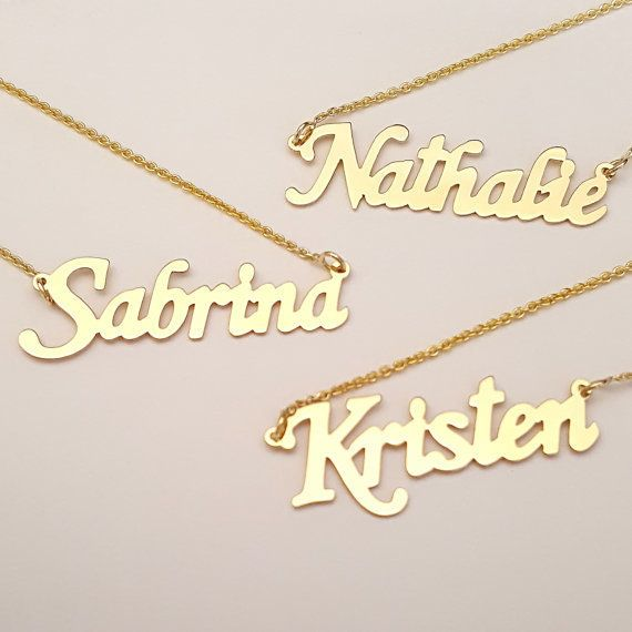 "Solid gold name necklace, $99.95, <a href=""https://www.etsy.com/listing/466300803/dainty-solid-gold-name-necklace-1-inch?ga_o"