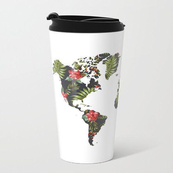 "$30, Aldari Home. <a href=""https://www.etsy.com/listing/490076845/world-map-metal-travel-mug-tropical?ga_order=most_relevant&"