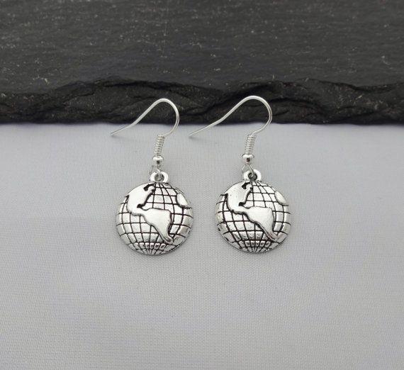 """$4.54, SJJ Creations. <a href=""""https://www.etsy.com/listing/466460082/globe-earrings-earth-earrings-world?ga_order=most_relev"""