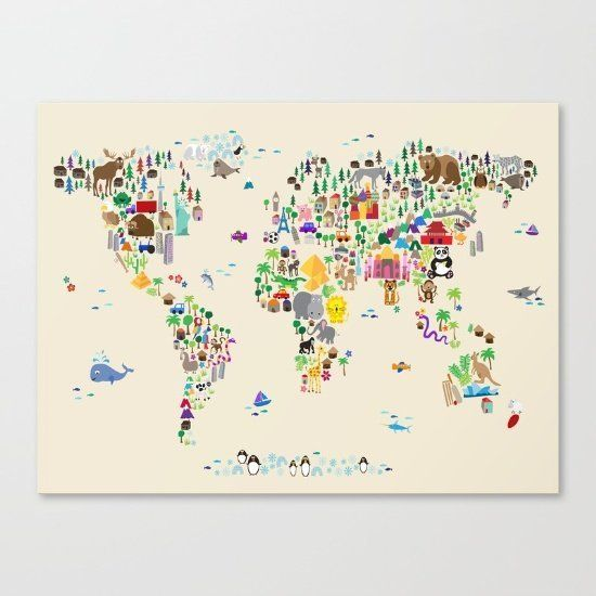 """$76.50, Society6. <a href=""""https://society6.com/product/animal-map-of-the-world-xl7_stretched-canvas#s6-2144769p16a6v28"""" targ"""